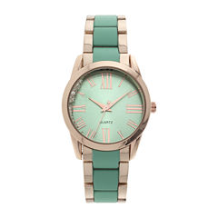 Womens Green Dial Gold-Tone Bracelet Watch