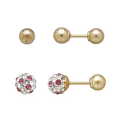 Infinite Gold™ Kids 14K Yellow Gold Pink and White Crystal-Accent and Ball Stud 2-pr. Earring Set