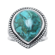 Enhanced Turquoise Sterling Silver Teardrop Ring