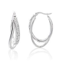 Crystal Sterling Silver Double Hoop Earrings