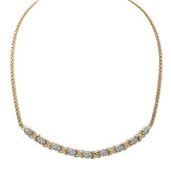 Crystal 14K Gold Over Silver Hugs and Kisses Stampato Necklace