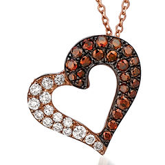 LIMITED QUANTITIES 3/8 CT. T.W. White and Chocolate Diamond Heart Necklace