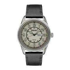 Seiko Recraft Mens Black Strap Watch-Sne447