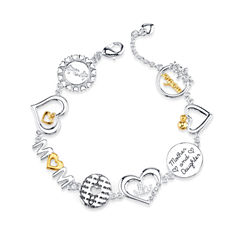 Footnotes Womens White Crystal Silver Over Brass Link Bracelet