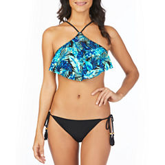 Ambrielle Tropical Palm High Neck Flounce or Side Tie Bottom with Tassels