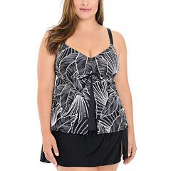 Le Cove Leaf Tankini Swimsuit Top-Plus