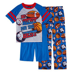 Jelli Fish Kids Boys 3-pc. Sport Short Sleeve Kids Pajama Set-Big Kid