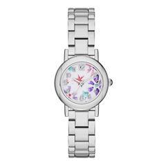 Womens Floral Dial Silver-Tone Bracelet Watch