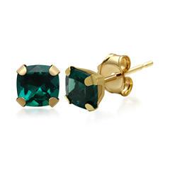 Lab-Created Emerald 10K Yellow Gold Stud Earrings