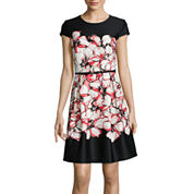 R&K Originals® Cap-Sleeve Floral Print Fit-and-Flare Dress