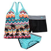 ZeroXposur® 3-pc. Swimsuit and Shorts Set - Girls 7-16