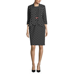 Black Label by Evan Picone 3/4 Sleeve Open Front Jacket with Sleeveless Belted Sheath Dress