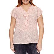 Liz Claiborne Short Sleeve Crew Neck Woven Blouse-Plus