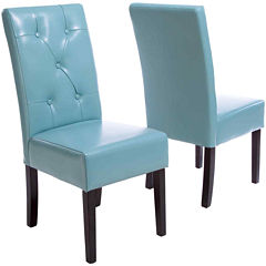 Owen Set of 2 Bonded Leather Parsons Dining Chairs