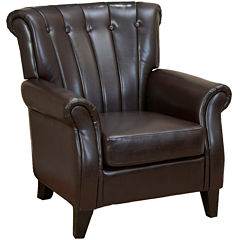 Justin Channel Tufted Bonded Leather Club Chair