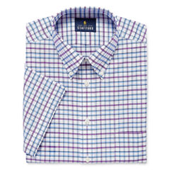 Stafford Travel Wrinkle-Free Oxford Short-Sleeve Dress Shirt
