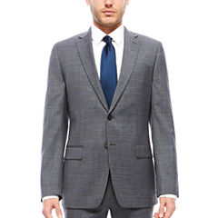 Claiborne Gray Windowpane Suit Separates- Slim Fit