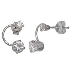 Silver Treasures Round Clear Diamond Accent Sterling Silver Stud Earrings