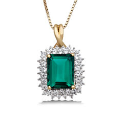 Womens Lab Created Emerald Gold Over Silver Pendant Necklace