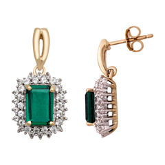 Green Emerald 14K Gold Over Silver Stud Earrings