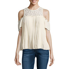 Eyeshadow Short Sleeve Woven Blouse-Juniors
