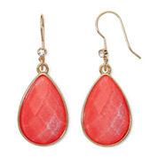 Liz Claiborne® Orange Stone Gold-Tone Shimmer Teardrop Earrings