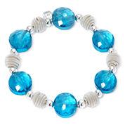 Monet® Blue Stone Silver-Tone Stretch Bracelet