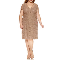 Scarlett Short Sleeve Tiered Lace Sheath Dress-Plus