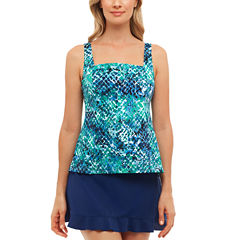 St. John's Bay® Muted Reptile Pleated Square NeckTankini or Ruffle Hem Skirt