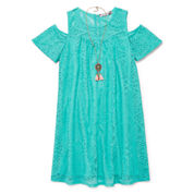 Speechless Short Sleeve Cold Shoulder Sleeve Dress Set - Big Kid