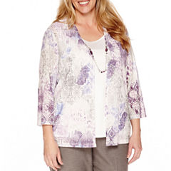 Alfred Dunner Spring Classics 3/4 Sleeve Knit Two-For-One Top-Plus
