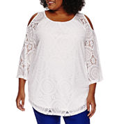 Worthingto® 3/4 Sleeve Cold Shoulder Lace Blouse - Plus