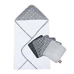 Trend Lab® Ombré Gray Hooded Towel and Washcloth Set