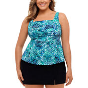St. John`s Bay Muted Reptile Pleated Square Neck Tankini or Side-Slit Swim Skirt - Plus