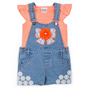 Little Lass 2-pc. Short Sleeve Shortall Set-Toddler