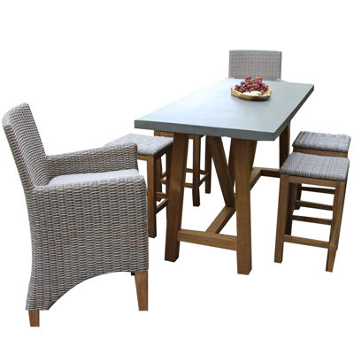 Outdoor Interiors Natural Teak Rectangle Bar TableDining Set
