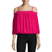 by&by Long Sleeve U Neck Blouse-Juniors