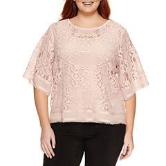 Worthington® Short Sleeve Lace Blouse - Plus