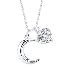 Love You to the Moon Sterling Silver Two-Charm Pendant Necklace