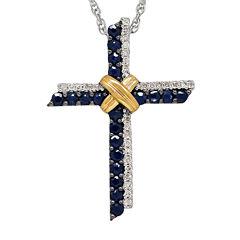 Genuine Blue Sapphire and 1/10 CT. T.W. Diamond Cross Pendant Necklace