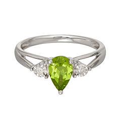 Genuine Peridot and Diamond-Accent 10K White Gold Ring