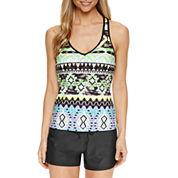 ZeroXposur® Geometric Tankini Swimsuit Top or Knit Action Short