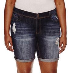 Indigo Rein Denim Bermuda Shorts-Juniors Plus