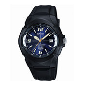 Casio® Mens Blue Dial Black Resin Strap Sport Watch MW600F-2AVOS