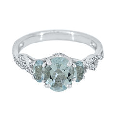 Genuine Aquamarine and Lab-Created White Sapphire Sterling Silver 3-Stone Ring