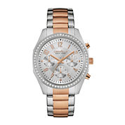 Caravelle New York® Womens Crystal-Accent Boyfriend Chronograph Two-Tone Stainless Steel Bracelet Watch 45L148
