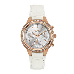 Caravelle New York® Womens Crystal-Accent Boyfriend Chronograph White Leather Strap Bracelet Watch 44L214