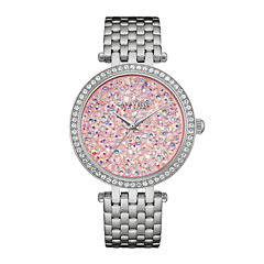 Caravelle New York® Womens Crystal-Accent Stainless Steel Bracelet Watch 43L194