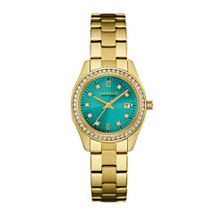 Caravelle New York® Womens Crystal-Accent Gold-Tone Stainless Steel Bracelet Watch 44M109