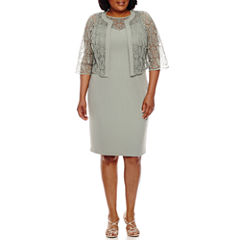 Maya Brooke Elbow Sleeve Lace Jacket Dress-Plus